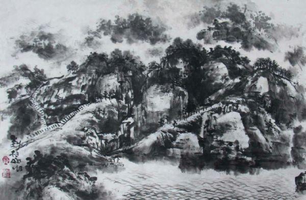 风景速写炭笔丛林-刘柏山四川西昌写生游记图片