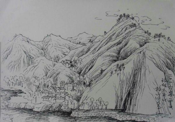 树木风景素描画