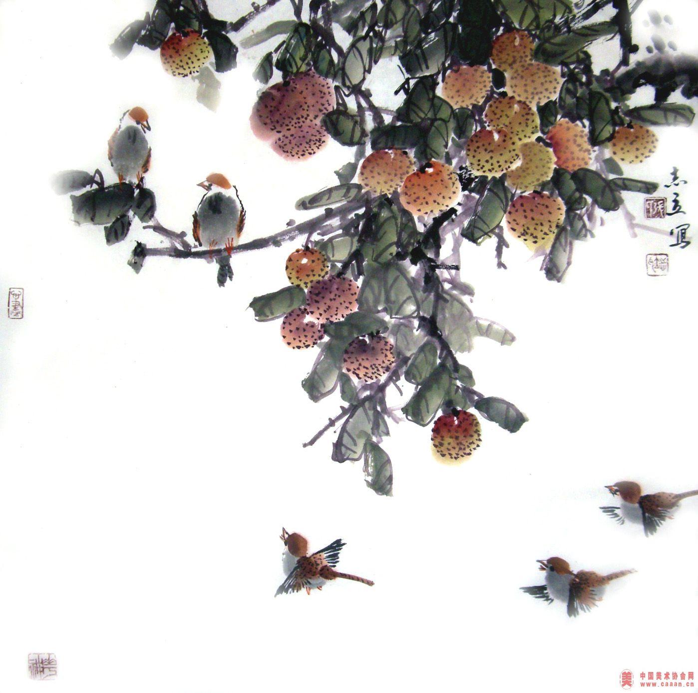 国画荔枝树的画法步骤图